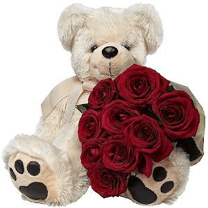 Цветы на 14 февраля - Влюбленный мишка